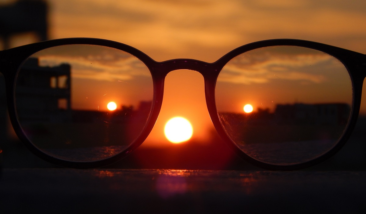 Glasses and sunset